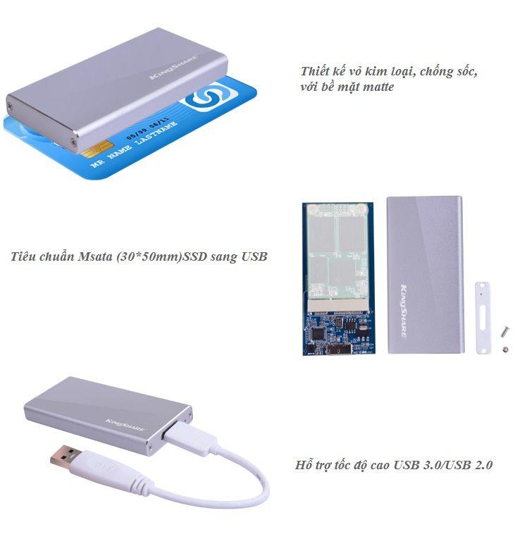 Adaptor Chuyển mSATA to USB 3.0 Cao Cấp hinh anh 2