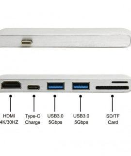 Cáp Chuyển Đổi USB Type C 6 in 1 To HDMI, 2 x USB 3.0, USB Type C, SD, Micro SD (UC-054)