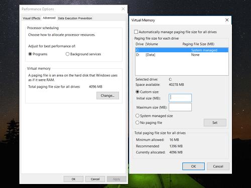 Điều chỉnh thiết lập Virtual Memory