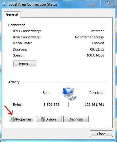 Chọn Properties rồi chọn Internet Protocol Version 4 (TCP/IPv4 )