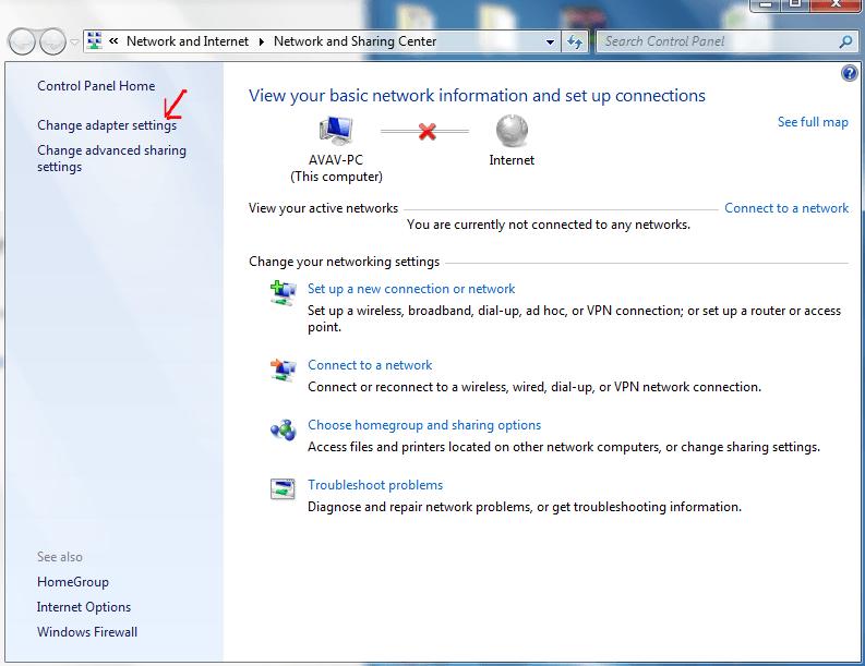 Chọn Change adapter settings