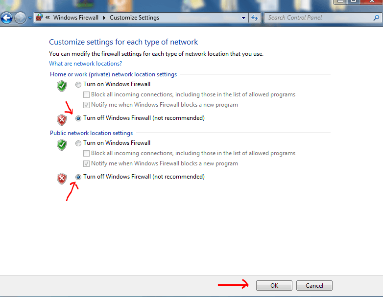 Chon Turn off Windows Firewall