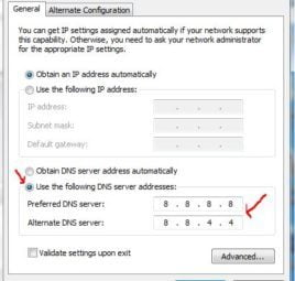 Chọn Use the following DNS Sever addresses và nhập DNS