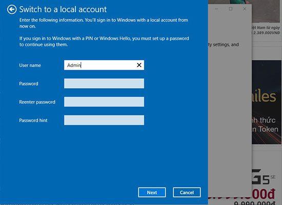 Đặt lại tên và mật khẩu cho máy tính