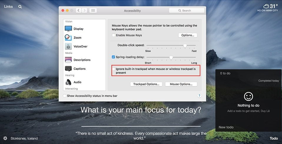Khắc phục lỗi trackpad không phản hồi