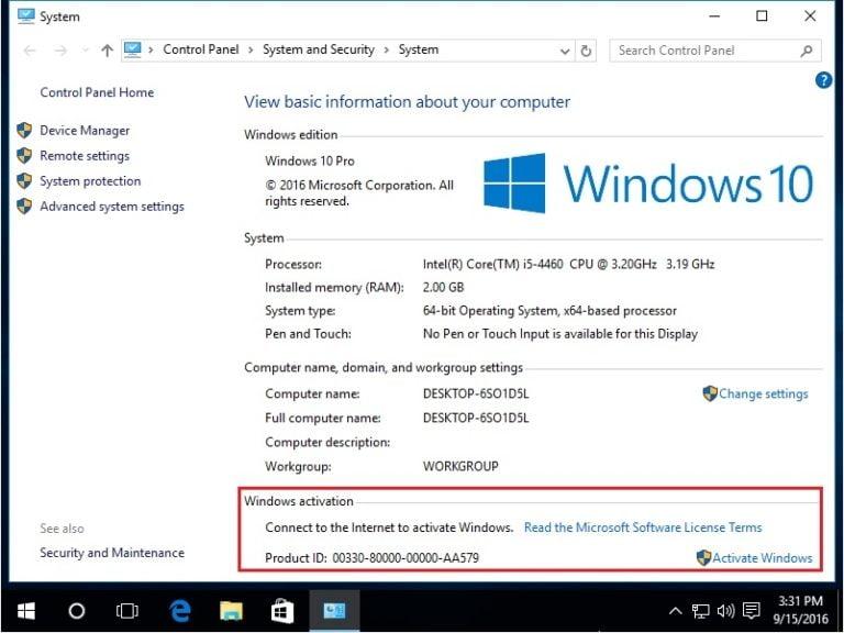 Kiểm tra trạng thái bản quyền của Windows