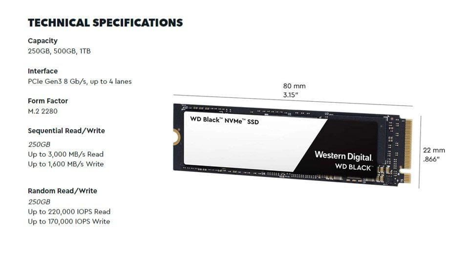 Ổ Cứng SSD WD Black 250GB M2 2280 NVMe 2018