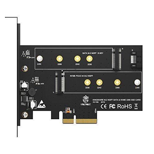Adapter Kingshare Chuyển Đổi SSD M2 NVMe To PCIe 3.0 x 4 ( 2 Slot )