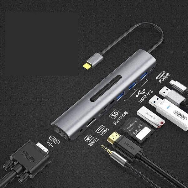 Cáp chuyển đổi USB Type C 9 in 1 To VGA, HDMI, SD, TF, USB 3.0 x 3, Audio 3.5, Type C 2
