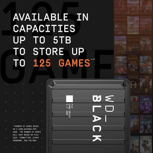Ổ Cứng Di Động HDD WD Black P10 5TB 2.5 inch, USB 3.2 WDBA3A0050BBK 5