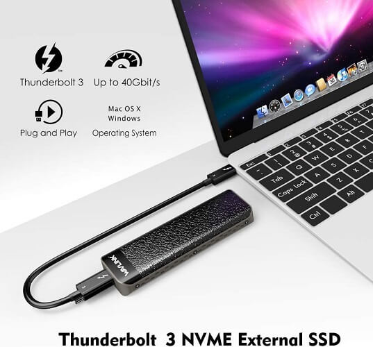 Box chuyển SSD M2 PCIe NVMe To Thunderbolt 3 Wavlink 2