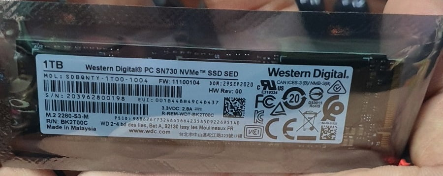 SSD Western Digital PC SN 730 1TB M2 2280 NVMe SDBPNTY-1TOO 3