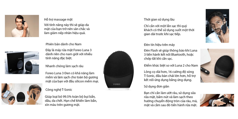 Foreo Luna 3 đen dành cho Nam