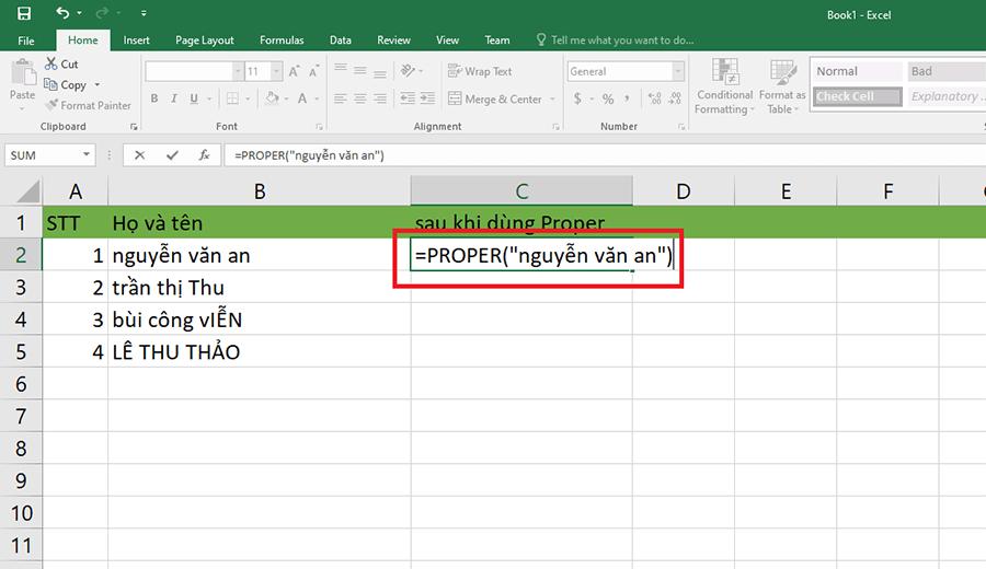 Hướng dẫn cách viết hoa chữ cái đầu trong Excel hình 4