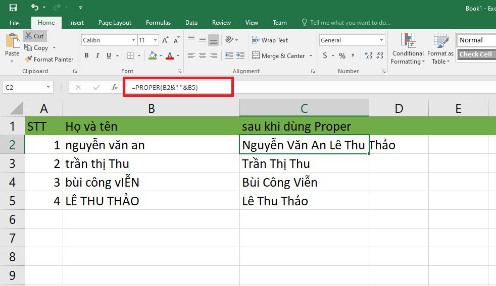 Hướng dẫn cách viết hoa chữ cái đầu trong Excel hình 6